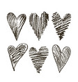 set of hearts hand drawn vector image vector image