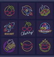 set of neon icon templates vector image vector image