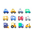 vehicle types - set of flat design style icons vector image
