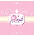 wedding invitation with retro horse carriage vector image