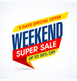 weekend special offer super sale banner vector image vector image