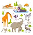 wild animals in zoo set of vector image vector image