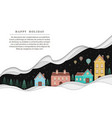 winter village landscape with paper style vector image vector image