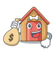 with money bag cartoon funny dog house with dish vector image vector image
