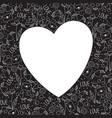 heart frame made of doodle valentine elements vector image