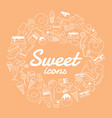 sweet icon set on orange background vector image