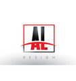 al a l logo letters with red and black colors and vector image vector image
