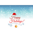 blue blurred winter banner with snow flakes santa vector image