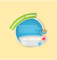 Breakfast cereal description boy in diving mask vector image