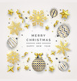 christmas background with shining snowflakes bow vector image vector image
