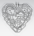 circuit board pattern in the shape of the heart vector image vector image