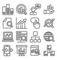 data analysis icons set on white background line vector image vector image