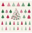 Decoration pine trees celebration set vector image vector image