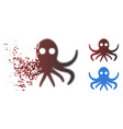 dissolved dot halftone octopus icon vector image