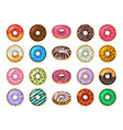 donuts desserts round fast food products tasty vector image