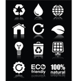 Ecology green recycling white icons set o vector image vector image