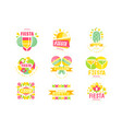 fiesta logo original design set labels for a vector image vector image