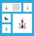 flat icon church set of traditional structure vector image vector image