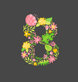 floral summer number 8 eight flower capital vector image