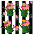 flower bouquet pattern retro striped background vector image