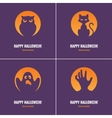 Four purple Halloween cards vector image