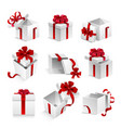 gift boxes with ribbon bow 3d icons set vector image vector image