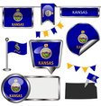 Glossy icons with Kansan flag vector image vector image