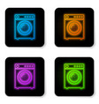 glowing neon washer icon isolated on white vector image vector image