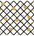Golden hearts rhombus seamless pattern vector image vector image