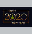 green marijuana leaf and 2020 year on blue vector image vector image