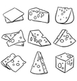 Hand drawn cheese outline cheese slice vector image vector image