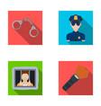 handcuffs policeman prisoner flashlightpolice vector image vector image