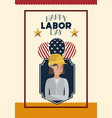 happy labor day card with woman builder and vector image