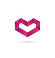 Letter V heart symbol logo icon design template vector image vector image