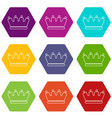 line crown icons set 9 vector image vector image