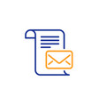 mail letter line icon read message correspondence vector image vector image