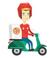 man delivering pizza on scooter vector image vector image