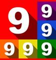 number 9 sign design template element set vector image