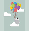 penguin baby holding balloon vector image vector image