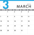 planning calendar March 2016 vector image vector image