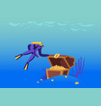 scuba diver character found open treasure chest vector image
