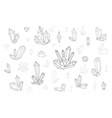 Set 18 fashion crystal Monochrome diamonds in vector image