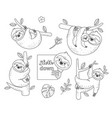 set of outline sloth sitting on a branch coloring vector image vector image