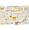 social media management doodle set vector image vector image