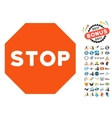 Stop Sign Icon with 2017 Year Bonus Pictograms vector image