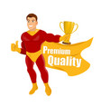 superhero approving superhero giving thumbs up vector image