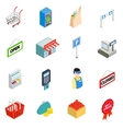 Supermarket icons set isometric 3d style vector image vector image