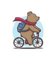 teddy bear on a bicycle vector image