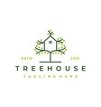 tree and house logo design isolated abstract tree vector image