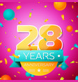 twenty eight years anniversary celebration design vector image
